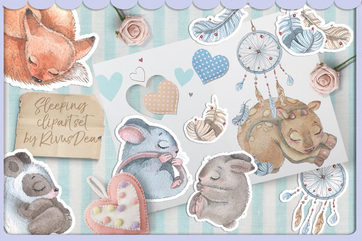 Sleeping baby animals clipart banner royalty free Cute sleeping baby animals watercolor clipart kit banner royalty free