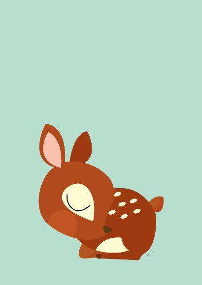 Sleeping baby animals clipart clip art royalty free download Baby Deer Sleeping Poster Modern Animal by Sealandfriends on ... clip art royalty free download