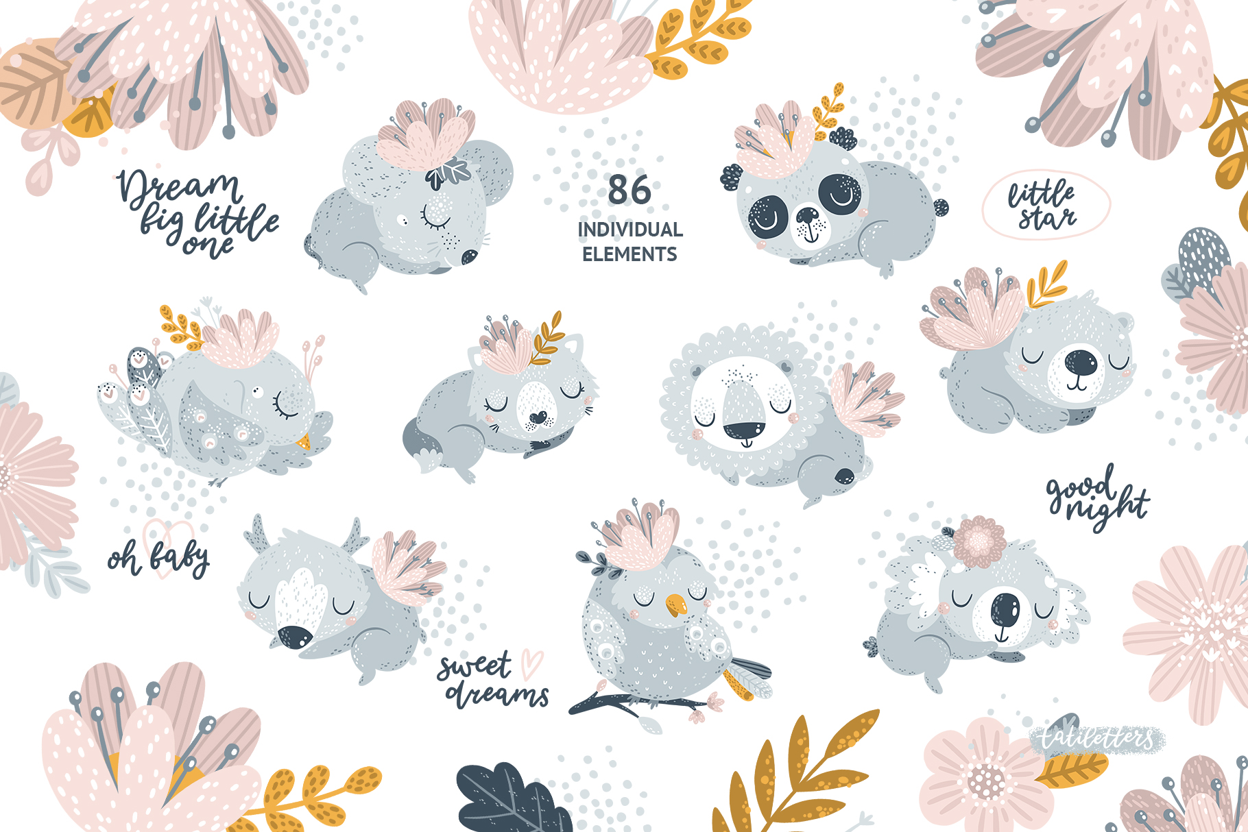 Sleeping baby animals clipart jpg download Sleeping Baby Animals Clipart and Patterns jpg download