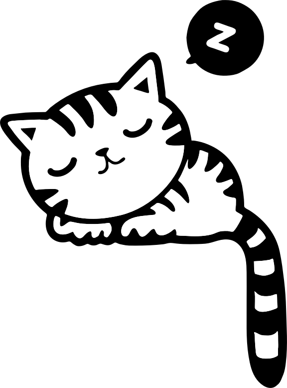 Sleeping cat black and white clipart image black and white library 28+ Collection of Sleeping Kitty Drawing | High quality, free ... image black and white library