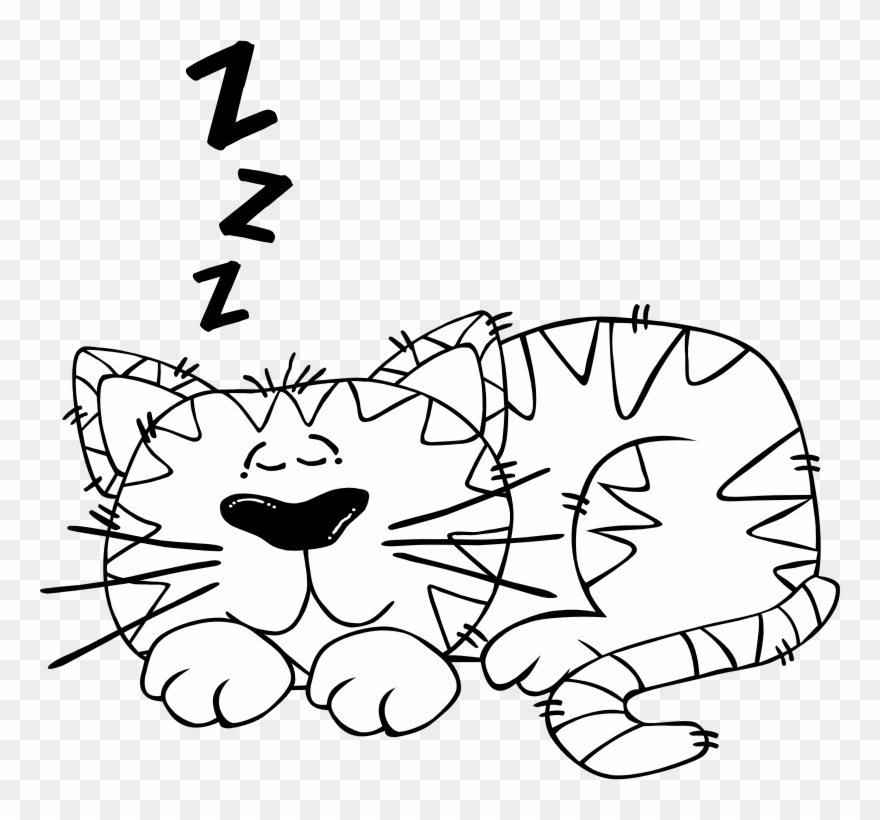Sleeping clipart black and white vector free stock Black And White Clipart Of Cat - Sleeping Cartoon Black And ... vector free stock