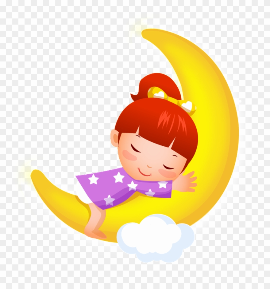 Sleeping in the middle of the night clipart jpg black and white download Sleeping Little Girl Cartoon Transparent - Good Night And ... jpg black and white download