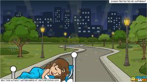 Sleeping in the middle of the night clipart freeuse library A Pretty Woman Sleeping So Well and A Park In The Middle Of The City At  Night Background freeuse library