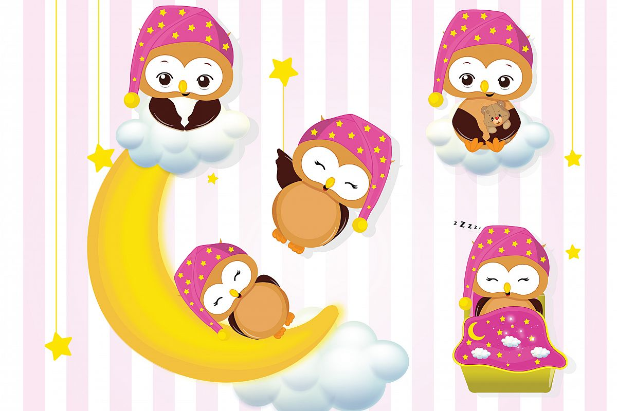 Sleepover clipart banner library download Girl owls sleepover party graphics, Girl owls clipart set banner library download