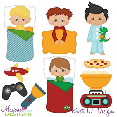 Sleepover clipart clip library stock Sleepover Boys SVG Cutting Files Includes Clipart - $2.28 ... clip library stock