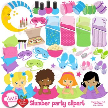 Sleepover clipart banner transparent library Slumber Party clipart, Girls Sleepover Clip Art, {Best Teacher Tools},  AMB-338 banner transparent library