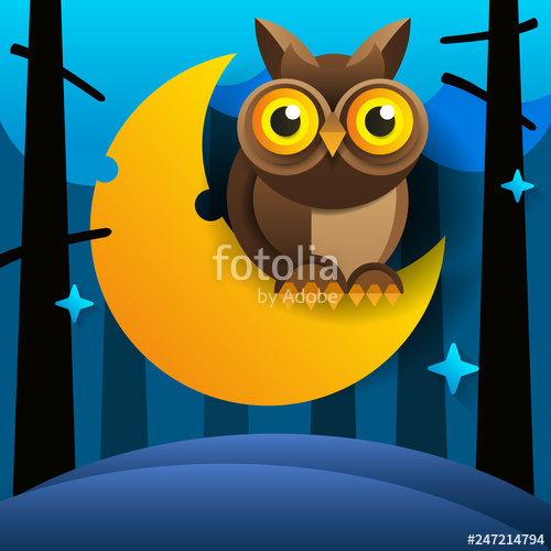 Sleepy owl and crescent moon clipart free library Cute Cartoon Owl Sits On The Slumbering Crescent Moon In The ... free library