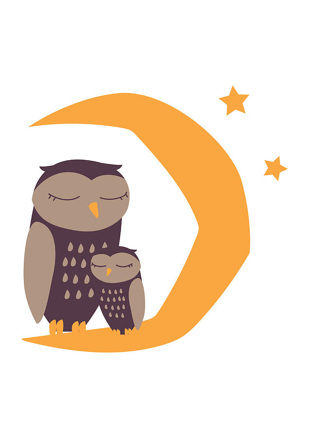 Sleepy owl and crescent moon clipart svg freeuse stock Owl Family Sleeping On Moon Crescent svg freeuse stock