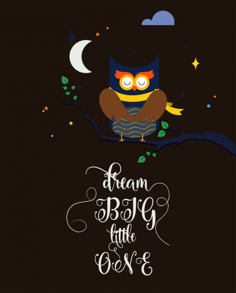 Sleepy owl and crescent moon clipart clip library library Sleeping owl background colored cartoon design calligraphic ... clip library library