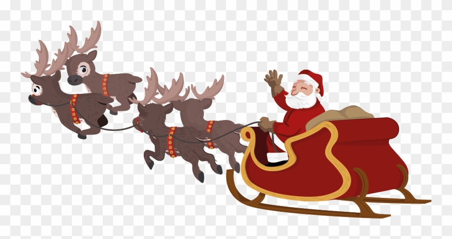 Sleigh santa claus clipart clip art black and white stock Santa And Sleigh Clipart - Santa Sleigh Transparent ... clip art black and white stock