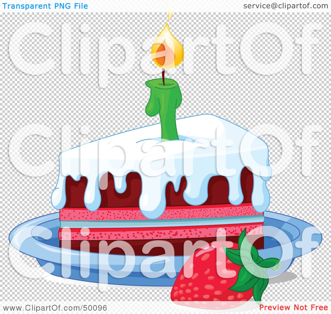 Slice of birthday cake clipart vector Royalty-Free (RF) Clipart Illustration of a Strawberry By A ... vector