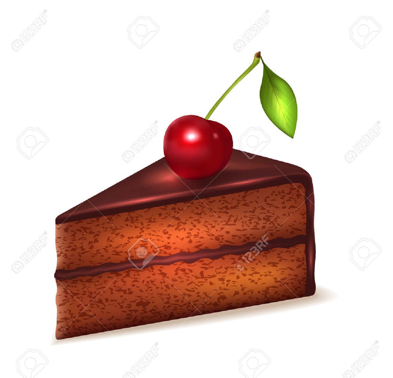 Slice of chocolate cake clipart jpg black and white download Piece Of Chocolate Sponge Cake With Cherry Isolated On White ... jpg black and white download