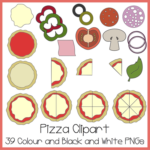 Pizza fractions clipart graphic transparent stock Pizza Clipart (Ideal For Fractions!) graphic transparent stock