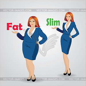 Slim clipart clipart transparent stock Diet. Choice of girls: being fat or slim - royalty-free ... clipart transparent stock