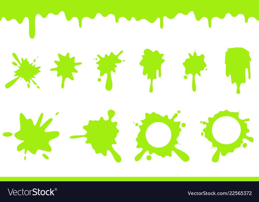 Slime splat clipart vector freeuse download Spill green slime splash flowing dripping splatter vector freeuse download