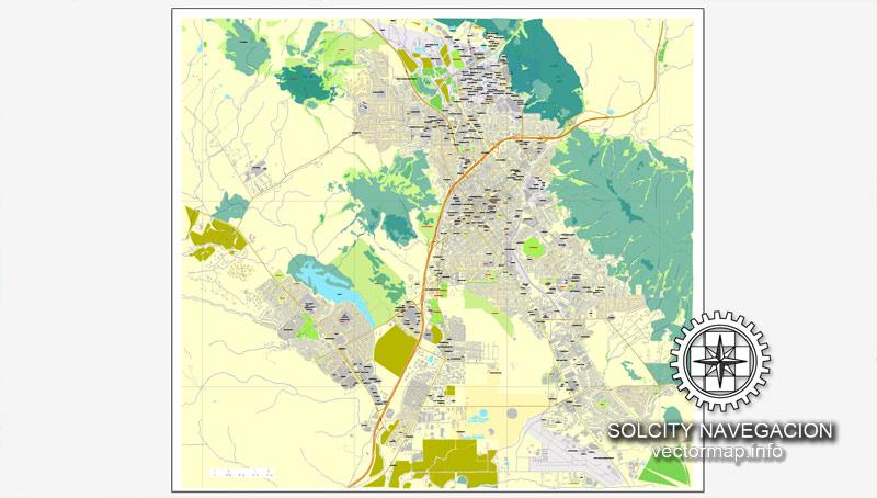 Slo california map clipart jpg black and white download San Luis Obispo, California, US printable vector street City Plan ... jpg black and white download