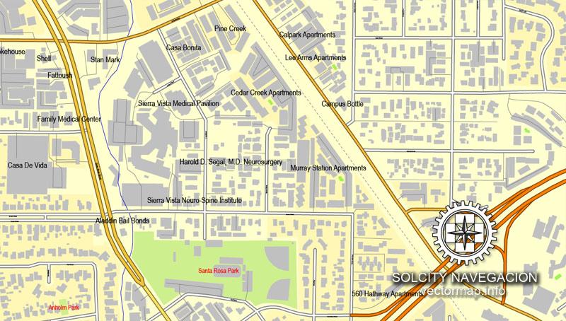 Slo california map clipart clip art San Luis Obispo, California, US printable vector street City Plan ... clip art