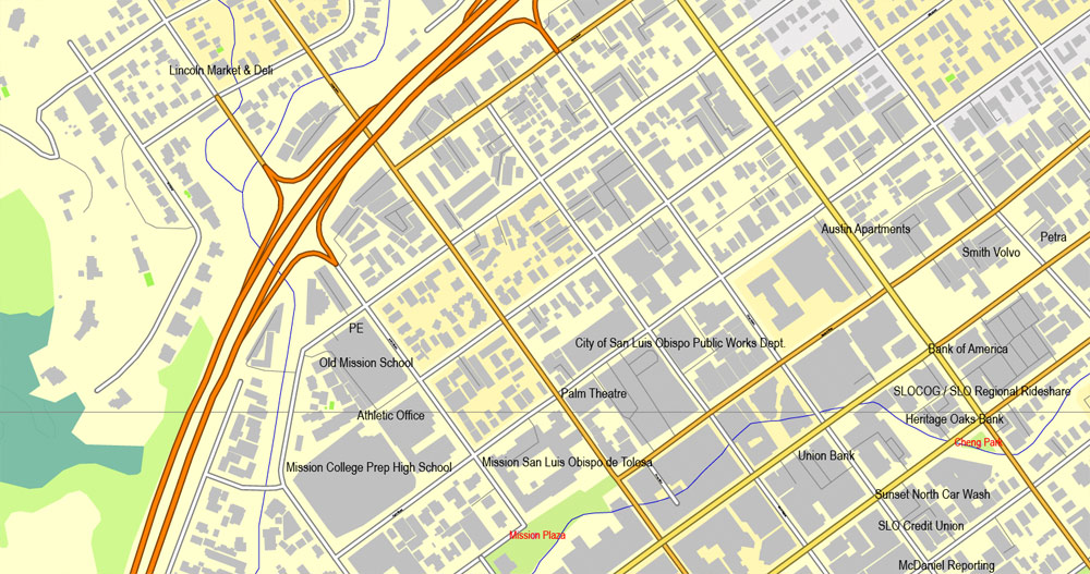 Slo california map clipart image royalty free San Luis Obispo, California, US, exact vector street City Plan map ... image royalty free