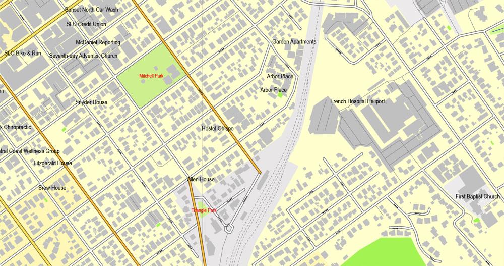Slo california map clipart clip black and white download San Luis Obispo, California, US, exact vector street City Plan map ... clip black and white download