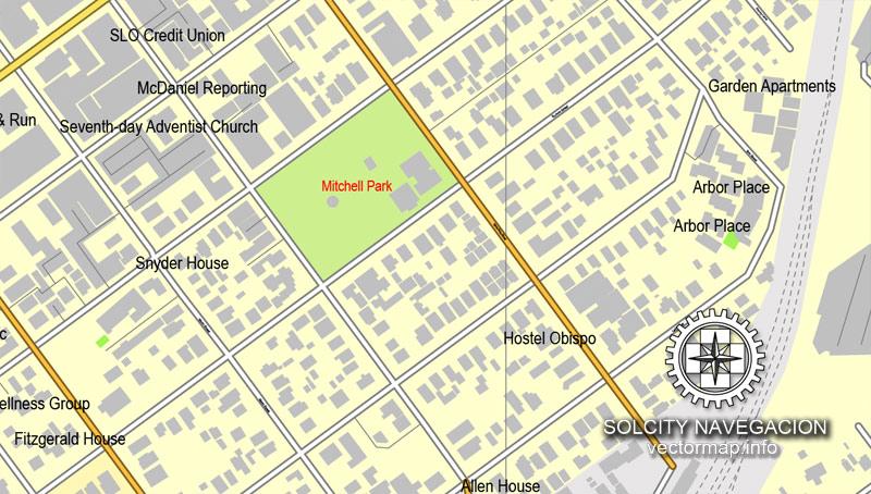 Slo california map clipart clip library library San Luis Obispo, California, US printable vector street City Plan ... clip library library