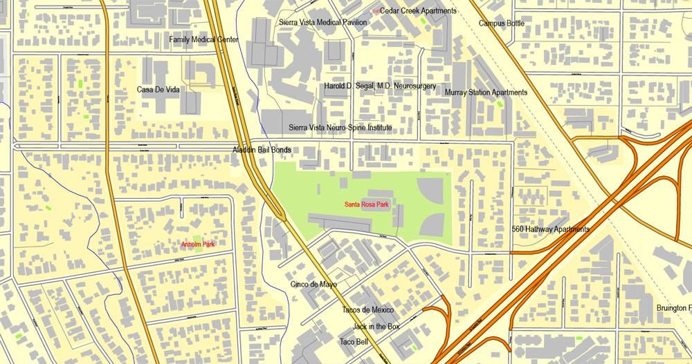 Slo california map clipart picture transparent San Luis Obispo, California, US, exact vector street City Plan map ... picture transparent