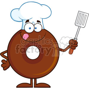 Slotted clipart black and white 8710 Royalty Free RF Clipart Illustration Chocolate Chef Donut Cartoon  Character Holding A Slotted Spatula Vector Illustration Isolated On White  ... black and white