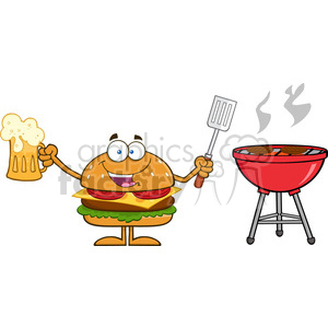 Slotted clipart svg transparent download 8578 Royalty Free RF Clipart Illustration Happy Hamburger Cartoon Character  Holding A Beer And Bbq Slotted Spatula By A Grill Vector Illustration ... svg transparent download