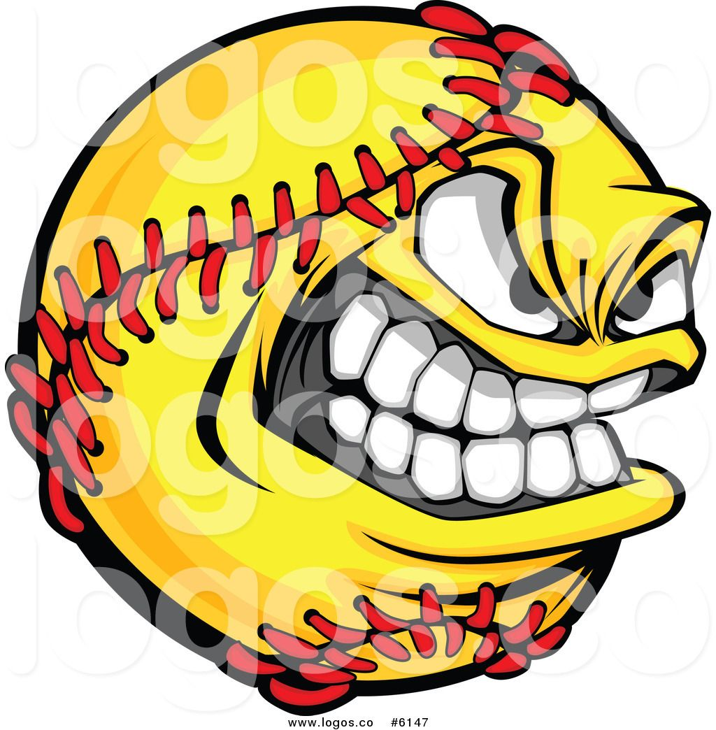 Royalty Free Clip Art Vector Logo of a Grinning Softball ... jpg freeuse