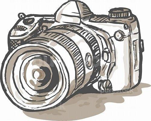 Slr camera clipart vector freeuse library hand sketch drawing illustration of a digital SLR camera ... vector freeuse library