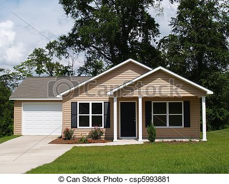 Small 1 story house clipart clip art freeuse Stock Photography of Small Residential Home - One story ... clip art freeuse