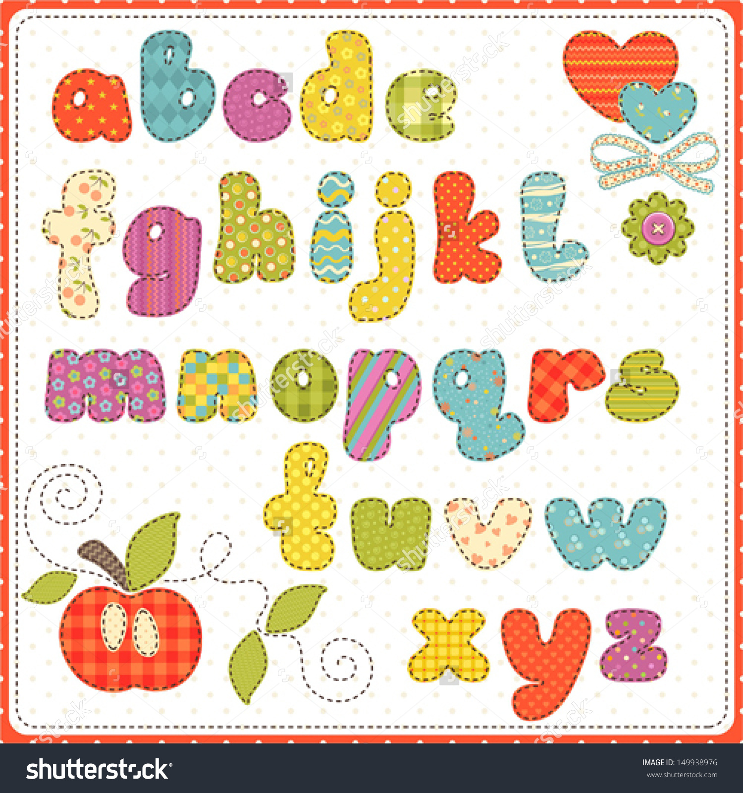 Small alphabet letter clipart picture royalty free download Colorful Children Alphabet Small Letters Stock Vector 149938976 ... picture royalty free download