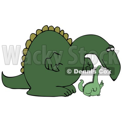 Small and big clipart black and white Green Dinosaur Bending Down to Listen to a Small Dino Clipart ... black and white