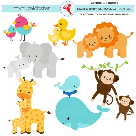 Small animals clipart picture library library Mom and Baby Animals Clipart Set - clip art set of animals ... picture library library