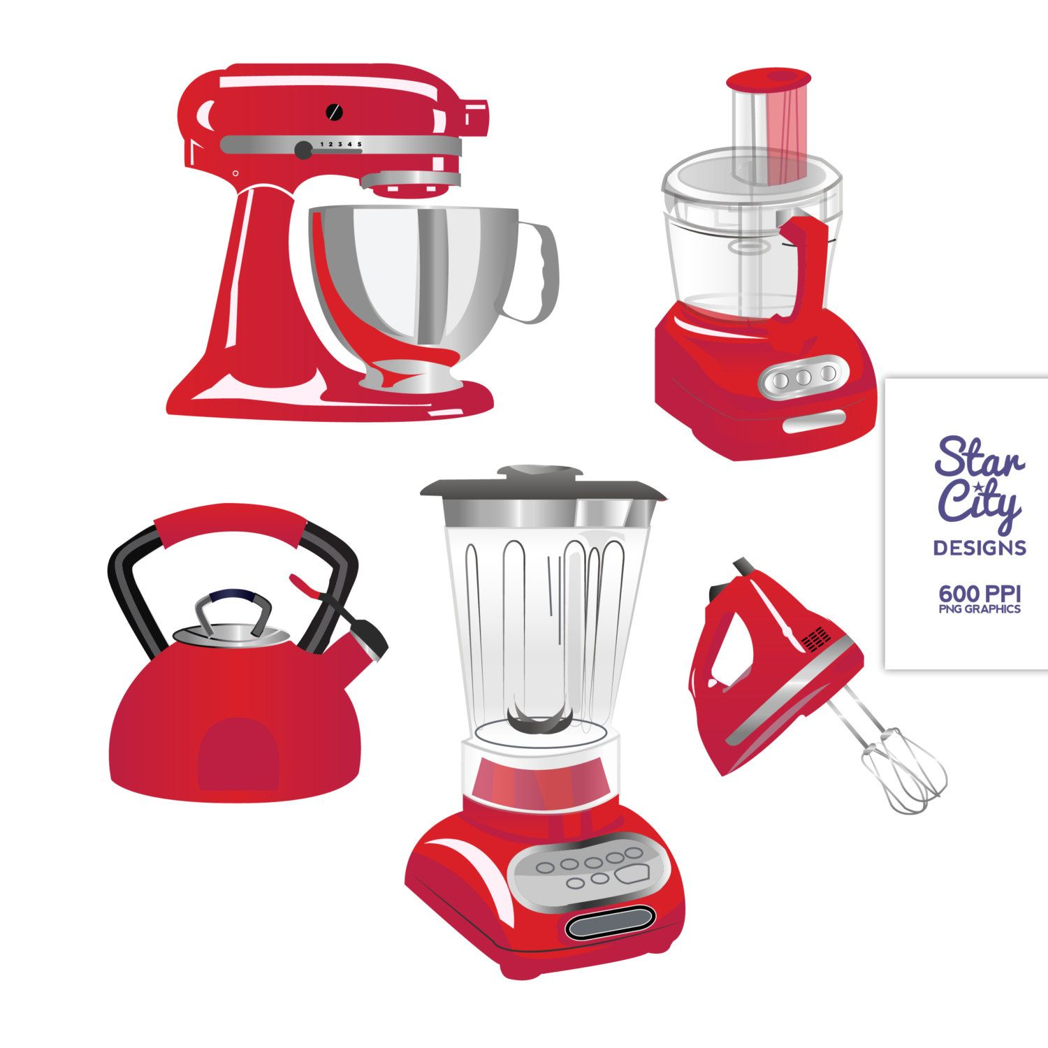 Small appliances clipart jpg black and white RED Kitchen Appliances Clip Art Clipart Vector by ... jpg black and white