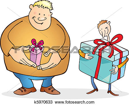 Small big clipart clip Clipart of Big man with small gift and thin guy with huge one ... clip