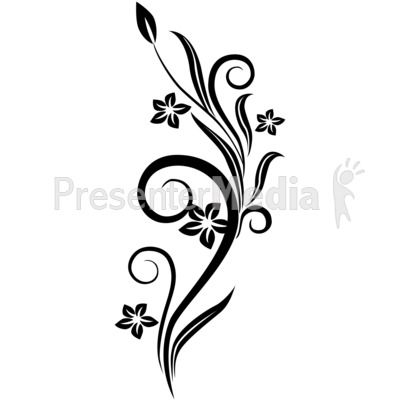 Small flower vines clipart banner black and white library Flower Drawings in Black and White | Vines Swirl Black ... banner black and white library