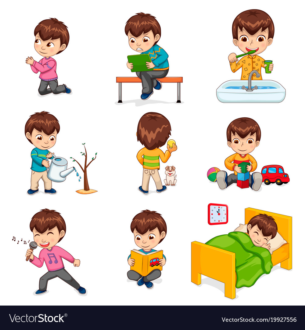Small boy clipart daily routine schedule night time clip library library Boy does daily routine actions set clip library library