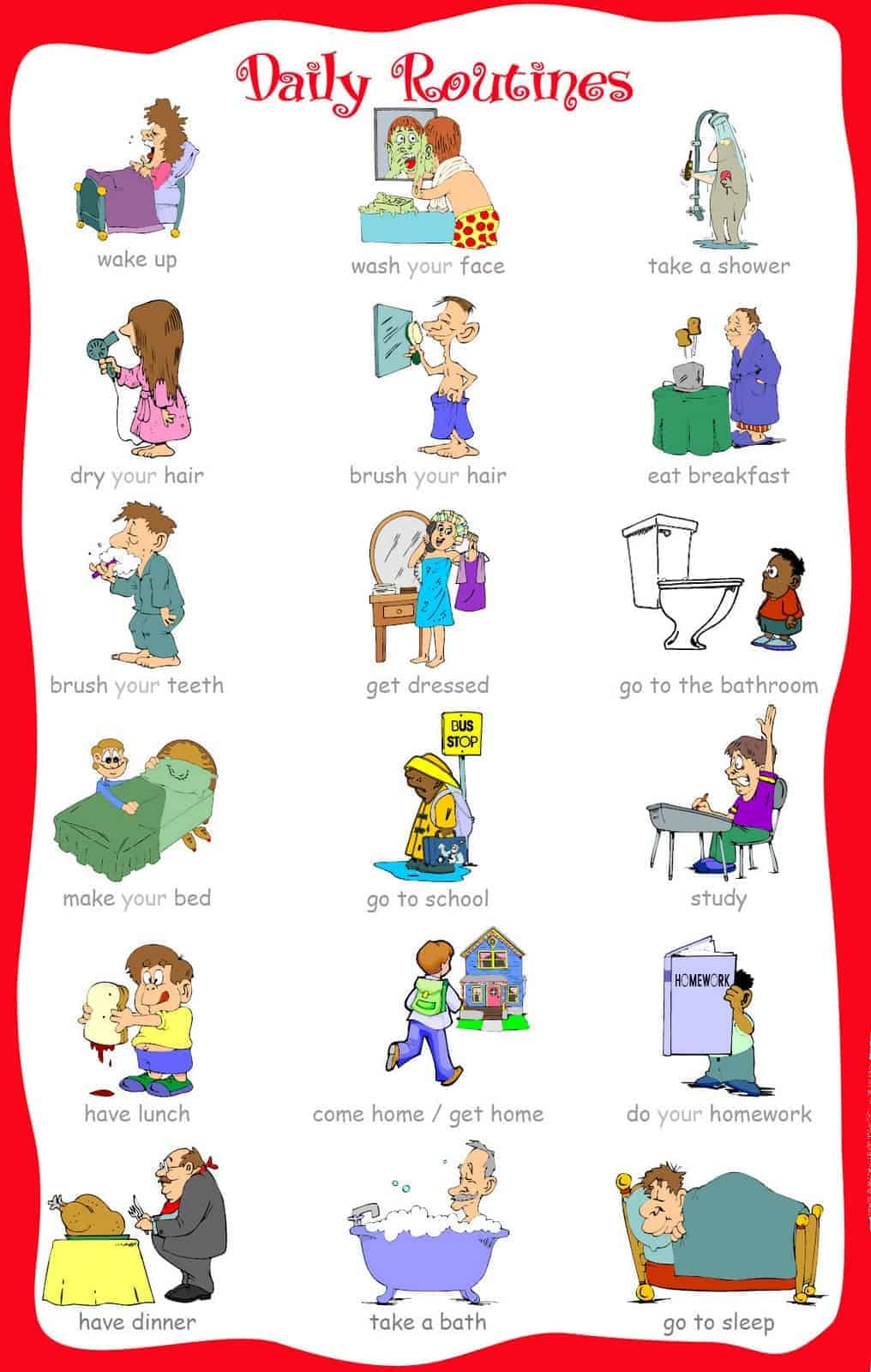 Small boy clipart daily routine schedule night time jpg free library 33 Printable Visual/Picture Schedules for Home/Daily Routines. jpg free library