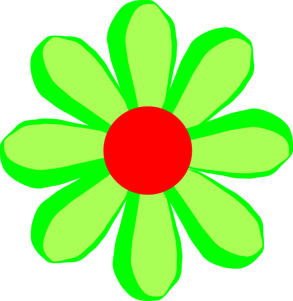 Flower cartoon clipart. Green clip art at