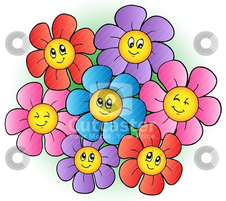 Small cartoon flower png black and white Group of cartoon flowers stock vector png black and white