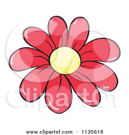 Small cartoon flowers clip royalty free library Cartoon Of A Pink Daisy Flower - Royalty Free Vector Clipart by ... clip royalty free library