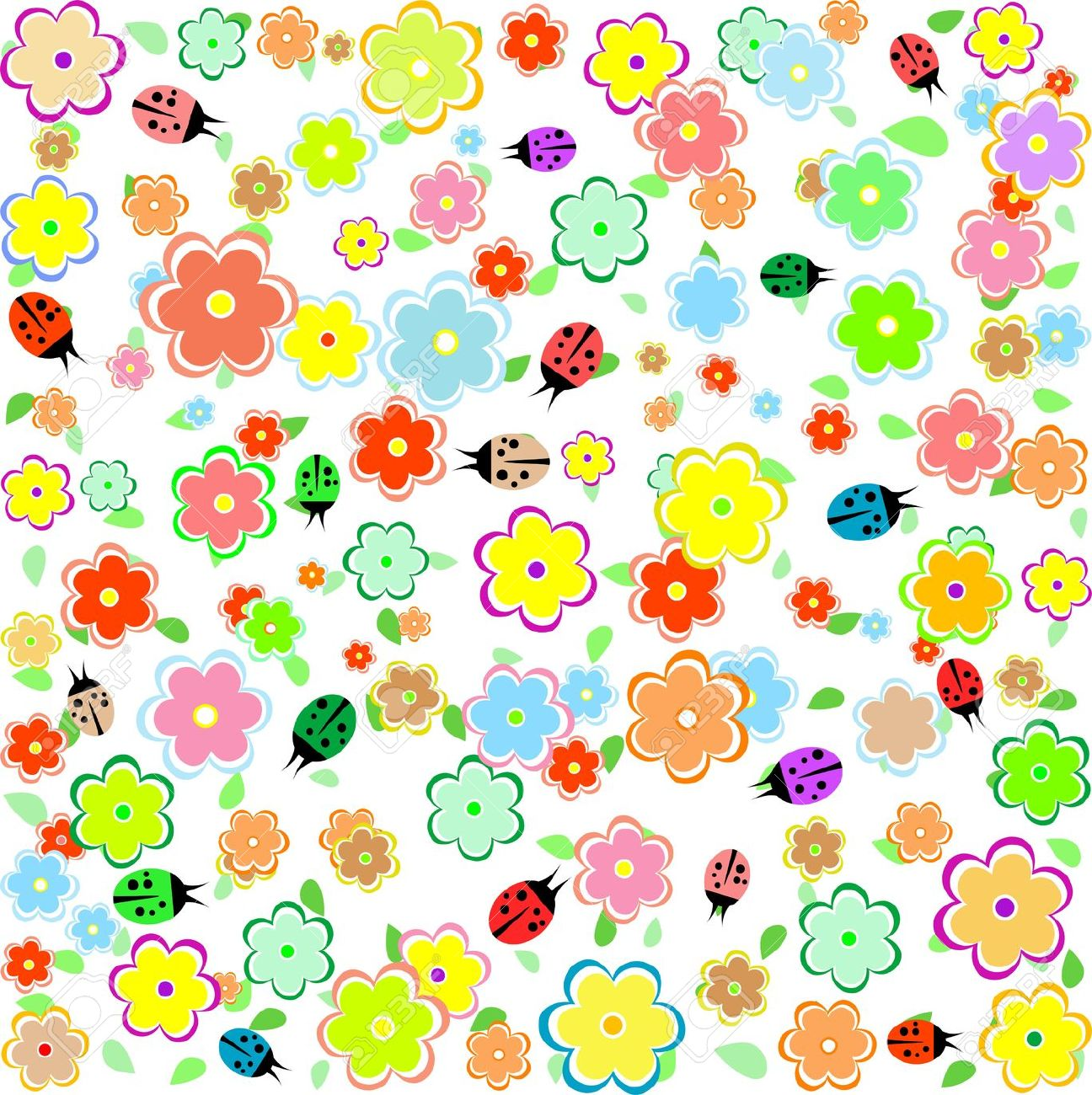 Small cartoon flowers clip transparent Spring Background With Small Flowers And Ladybugs Royalty Free ... clip transparent