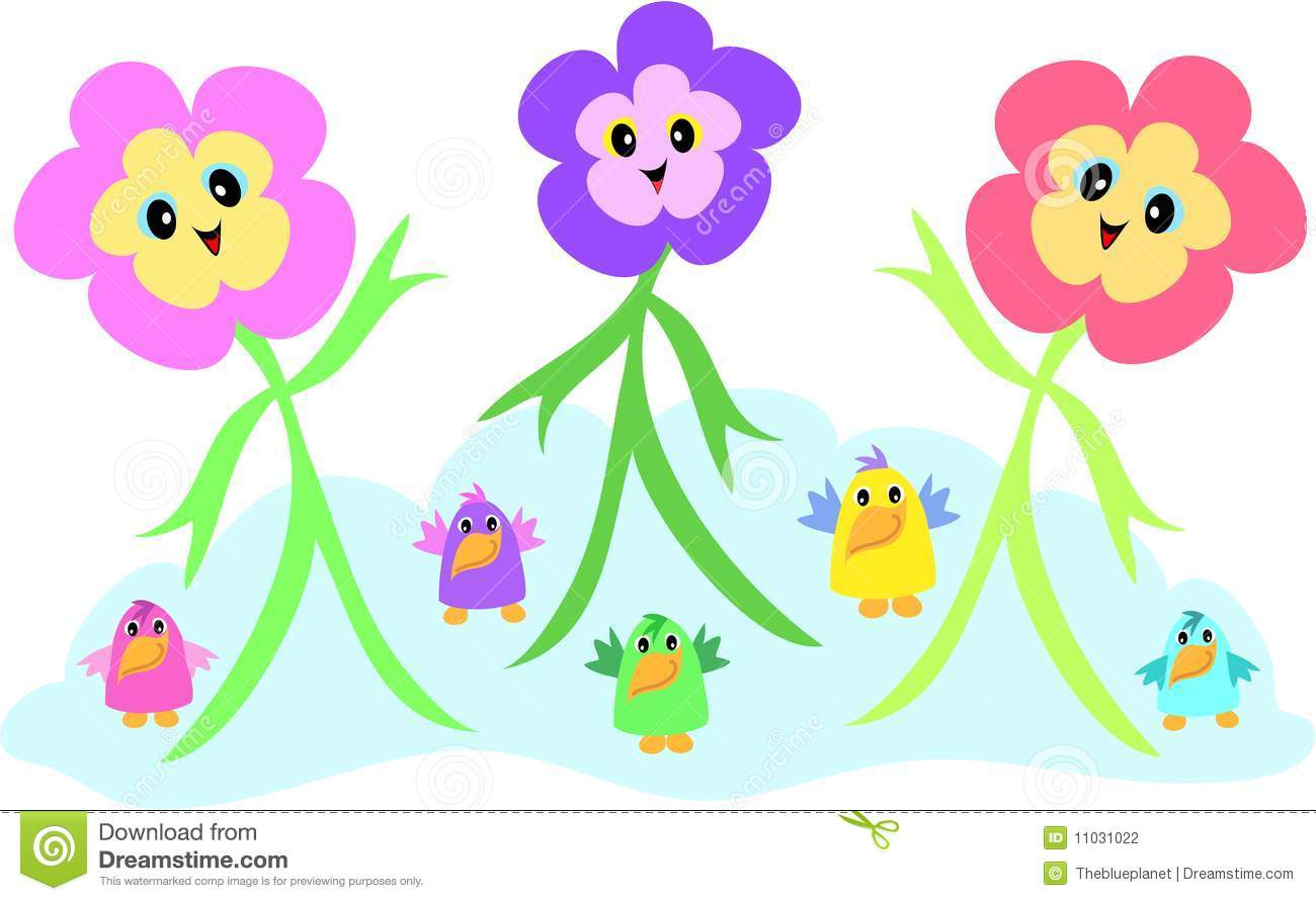 Small cartoon flowers clipart free library Cartoon Flowers And Birds Stock Photography - Image: 11031022 clipart free library