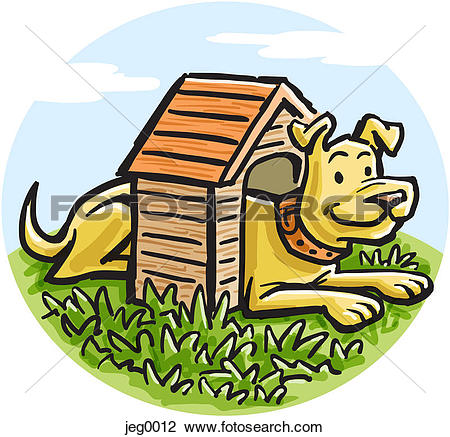 Small clipart dog svg black and white download Clip Art of A big dog in a small dog house jeg0012 - Search ... svg black and white download