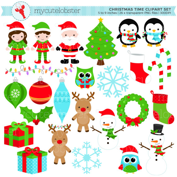 Its time to decorate for the holidays clipart clip black and white Christmas, Holiday Clipart Set - clip art set of christmas ... clip black and white