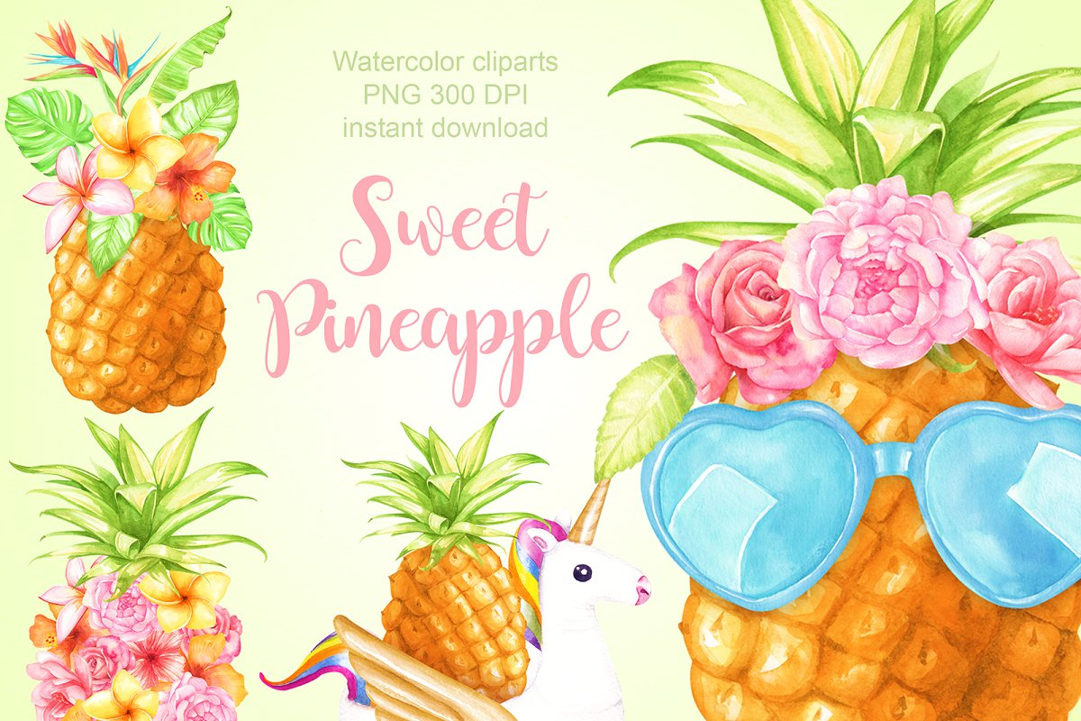 Small pineapple smile clipart clip library stock Watercolor pineapple cliparts ~ Illustrations ~ Creative Market clip library stock