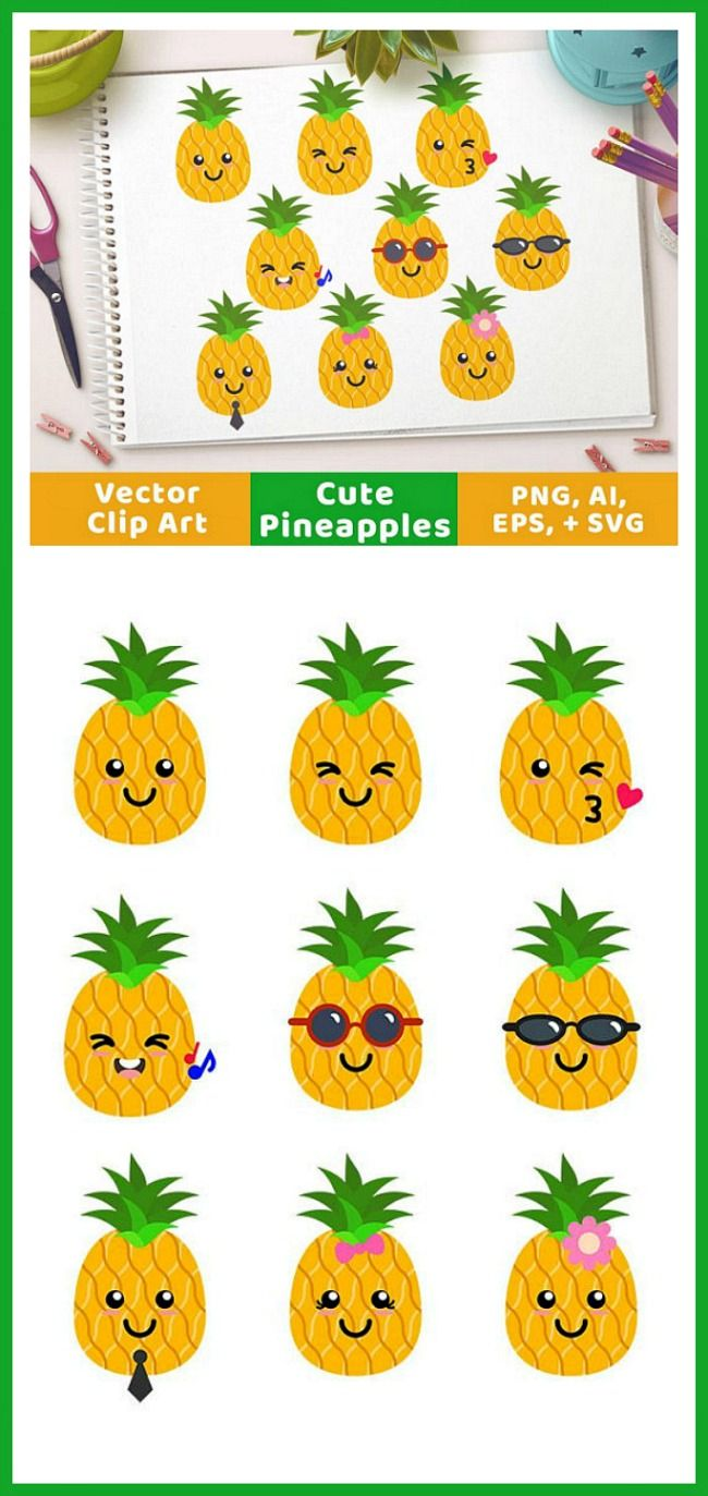 Small pineapple smile clipart clipart black and white Cute Pineapples Clipart, Pineapple SVG, Tropical Fruit ... clipart black and white