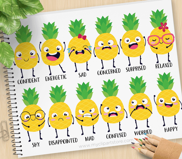 Small pineapple smile clipart picture royalty free library Pineapple Emotions Clipart picture royalty free library