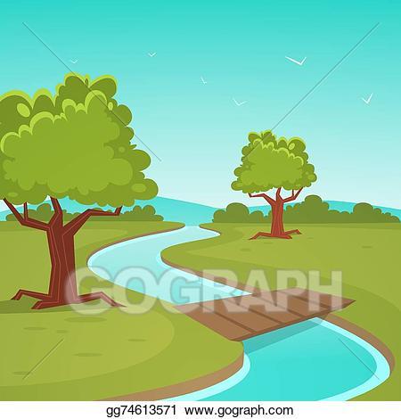 Small river clipart clipart transparent download Vector Stock - Cartoon summer landscape. Clipart ... clipart transparent download