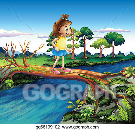 Small river clipart freeuse EPS Vector - A small girl crossing the river. Stock Clipart ... freeuse